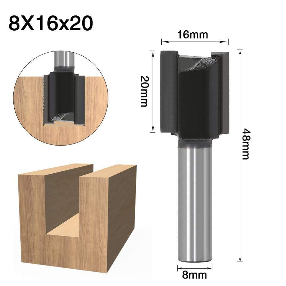 Yoybi Handmade 8X16X20 1pcs 8mm Shank 2 flute straight bit Woodworking Tools Router Bit for Wood Tungsten Carbide endmill milling cutter