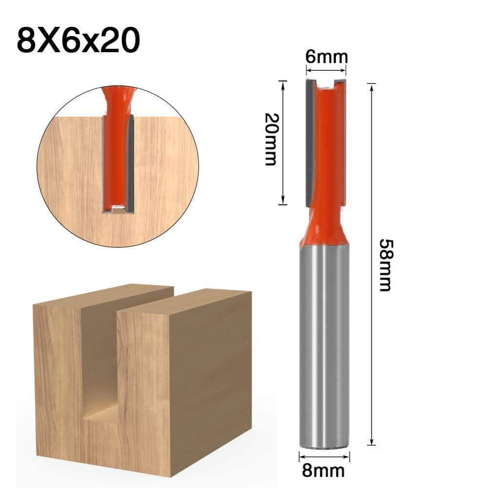 Yoybi Handmade 8X6X20 1pcs 8mm Shank 2 flute straight bit Woodworking Tools Router Bit for Wood Tungsten Carbide endmill milling cutter