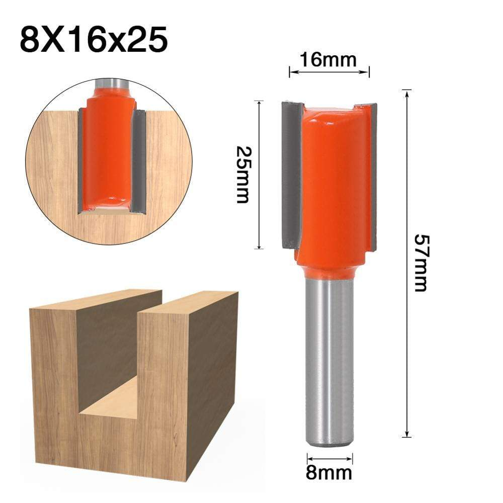 Yoybi Handmade 8X16X25 1pcs 8mm Shank 2 flute straight bit Woodworking Tools Router Bit for Wood Tungsten Carbide endmill milling cutter