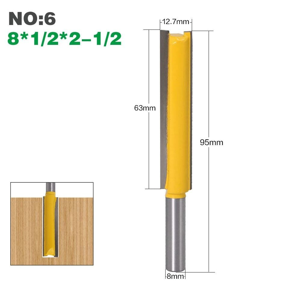 "Yoybi Handmade NO6 1Pcs 8mm"" Shank Long Cleaning Bottom Router Bit Cutter CNC Woodworking Clean Bits"