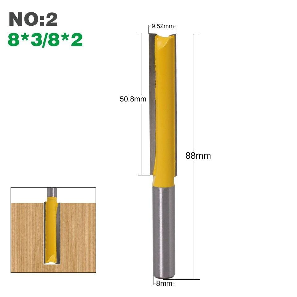 "Yoybi Handmade NO2 1Pcs 8mm"" Shank Long Cleaning Bottom Router Bit Cutter CNC Woodworking Clean Bits"
