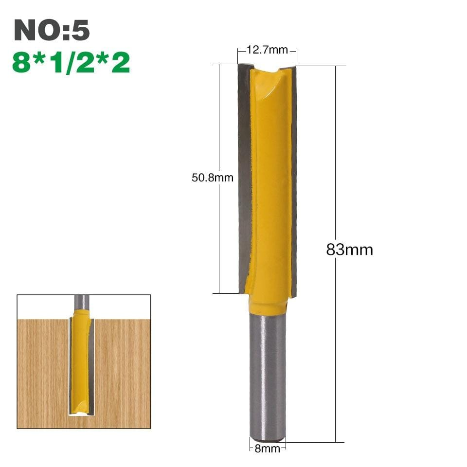 "Yoybi Handmade NO5 1Pcs 8mm"" Shank Long Cleaning Bottom Router Bit Cutter CNC Woodworking Clean Bits"