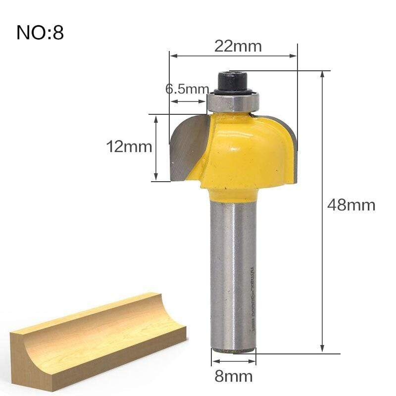 Yoybi Handmade NO8 1pcs 8mm Shank wood router bit Straight end mill trimmer cleaning flush trim corner round cove box bits tools Milling Cutte RCT