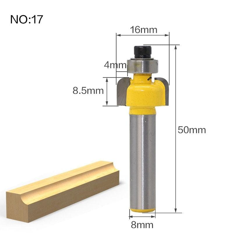 Yoybi Handmade NO17 1pcs 8mm Shank wood router bit Straight end mill trimmer cleaning flush trim corner round cove box bits tools Milling Cutte RCT