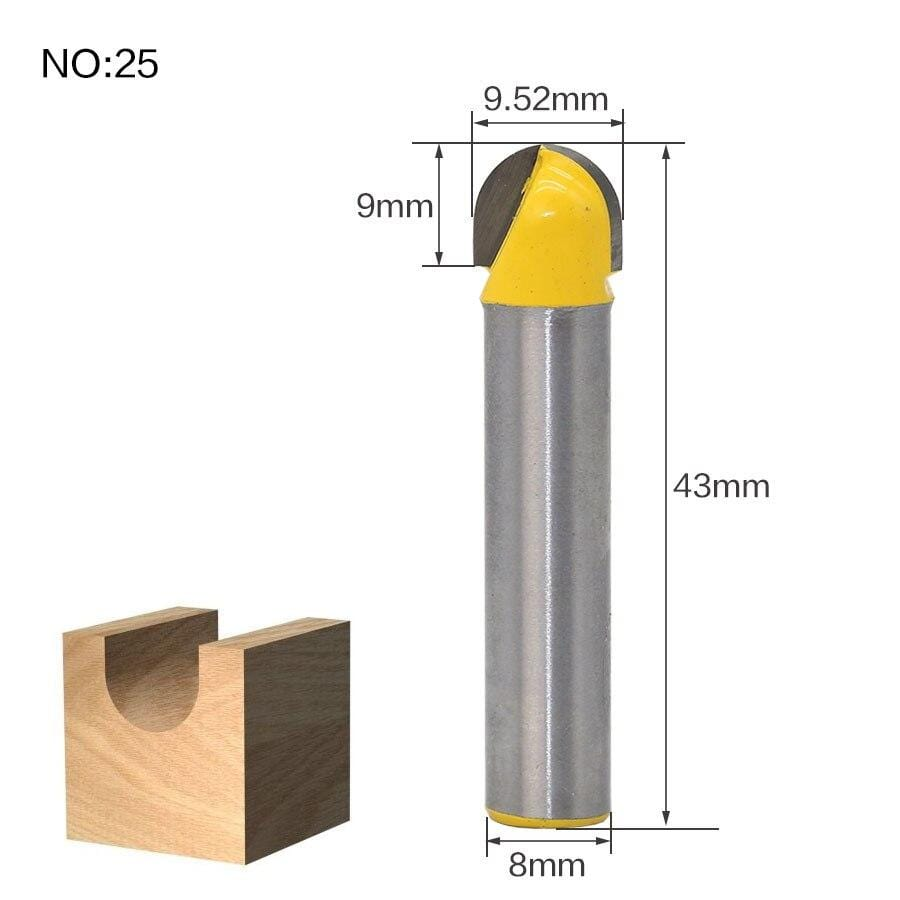 Yoybi Handmade NO25 1pcs 8mm Shank wood router bit Straight end mill trimmer cleaning flush trim corner round cove box bits tools Milling Cutte RCT