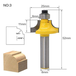 Yoybi Handmade NO3 1pcs 8mm Shank wood router bit Straight end mill trimmer cleaning flush trim corner round cove box bits tools Milling Cutte RCT