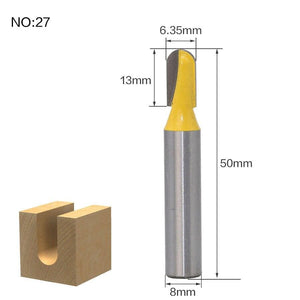 Yoybi Handmade NO27 1pcs 8mm Shank wood router bit Straight end mill trimmer cleaning flush trim corner round cove box bits tools Milling Cutte RCT