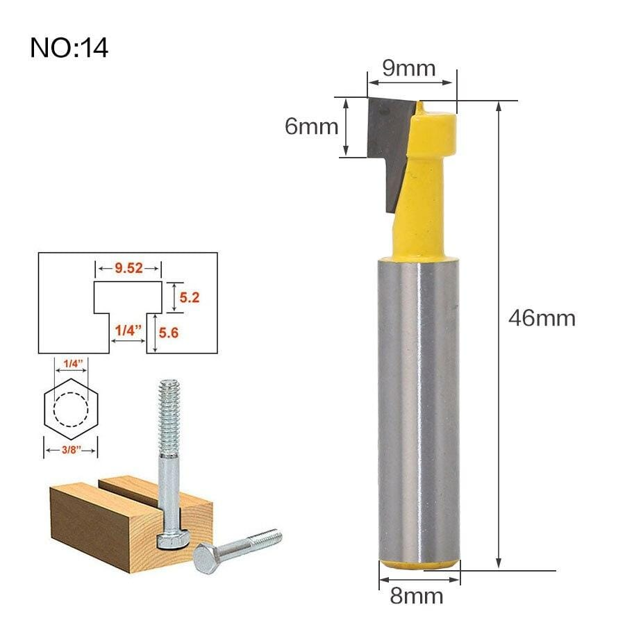Yoybi Handmade NO14 1pcs 8mm Shank wood router bit Straight end mill trimmer cleaning flush trim corner round cove box bits tools Milling Cutte RCT