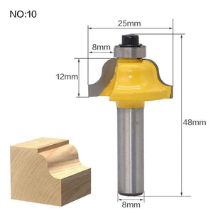 Yoybi Handmade NO10 1pcs 8mm Shank wood router bit Straight end mill trimmer cleaning flush trim corner round cove box bits tools Milling Cutte RCT