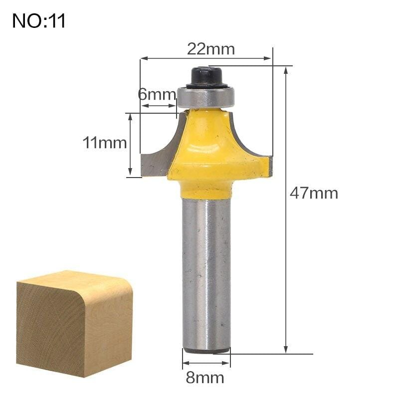 Yoybi Handmade NO11 1pcs 8mm Shank wood router bit Straight end mill trimmer cleaning flush trim corner round cove box bits tools Milling Cutte RCT