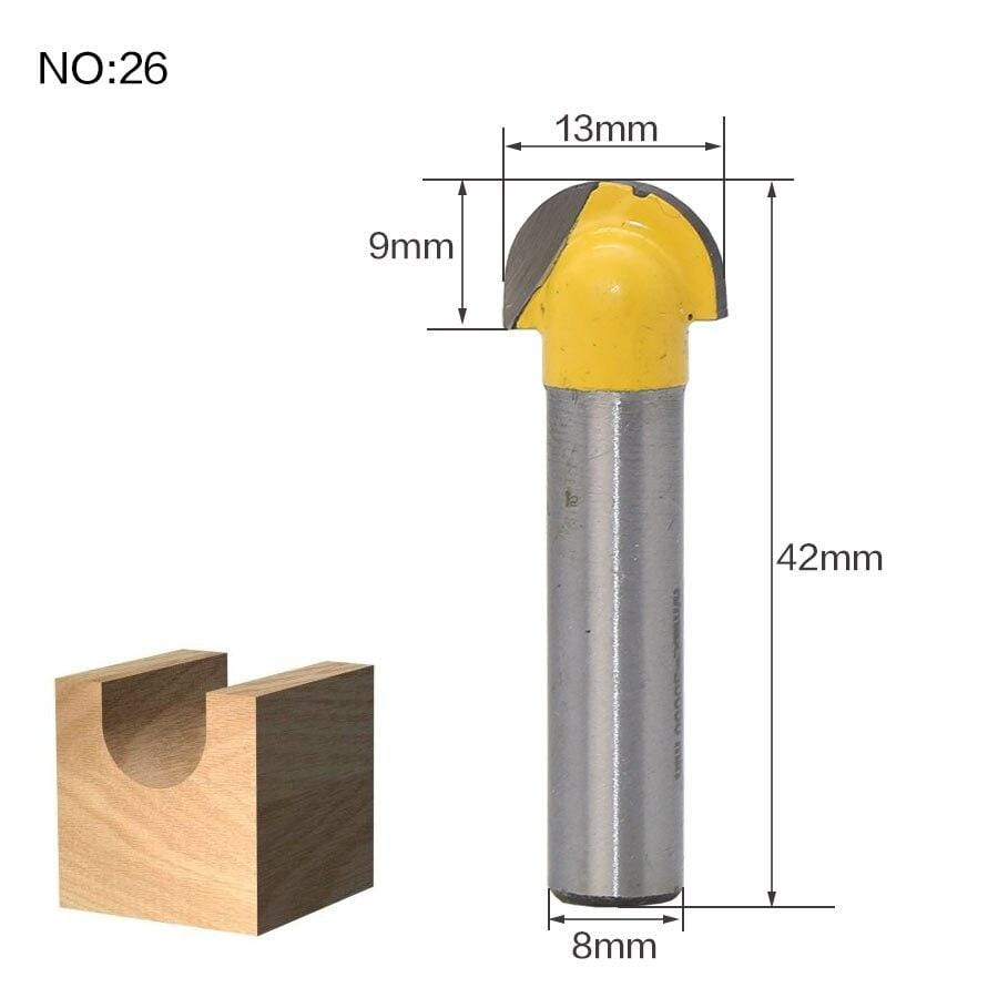 Yoybi Handmade NO26 1pcs 8mm Shank wood router bit Straight end mill trimmer cleaning flush trim corner round cove box bits tools Milling Cutte RCT