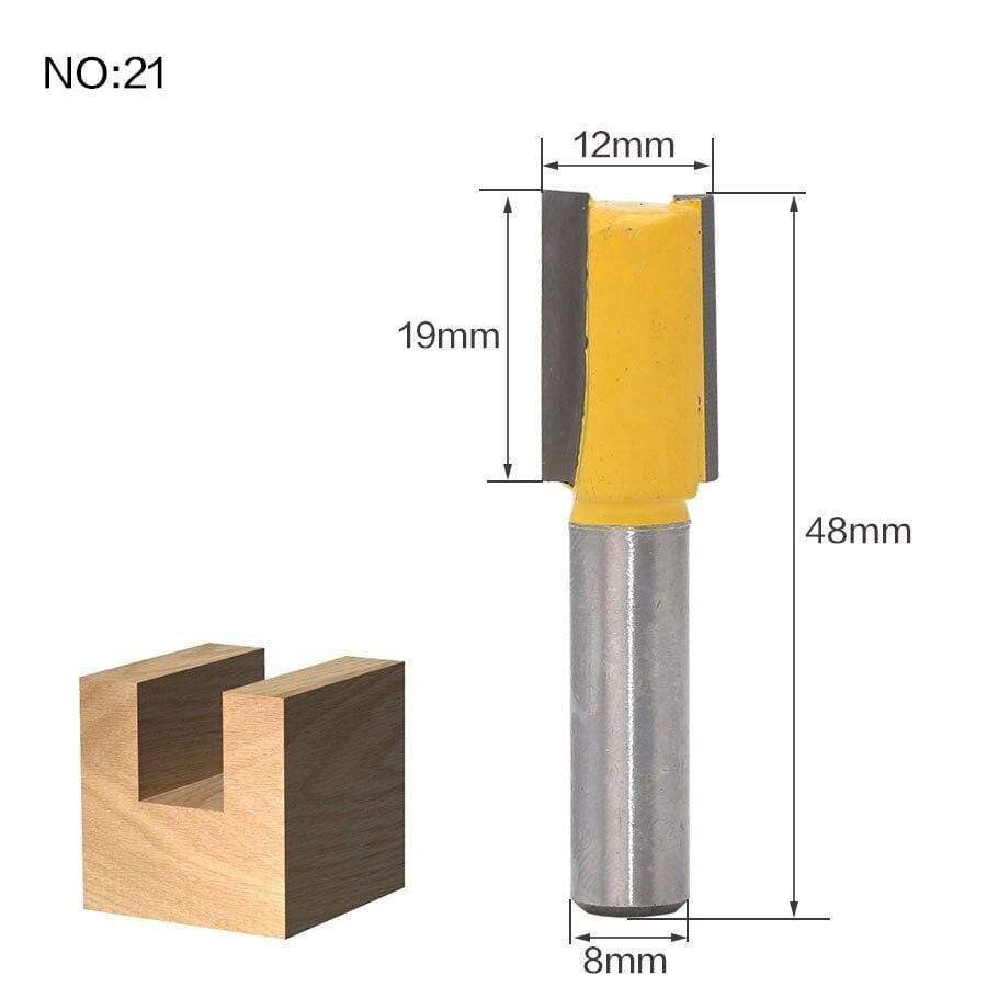 Yoybi Handmade NO21 1pcs 8mm Shank wood router bit Straight end mill trimmer cleaning flush trim corner round cove box bits tools Milling Cutte RCT