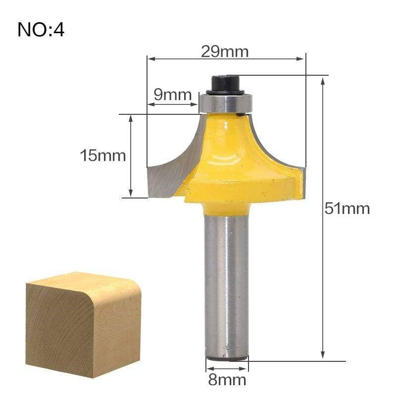 Yoybi Handmade NO4 1pcs 8mm Shank wood router bit Straight end mill trimmer cleaning flush trim corner round cove box bits tools Milling Cutte RCT
