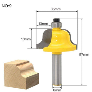 Yoybi Handmade NO9 1pcs 8mm Shank wood router bit Straight end mill trimmer cleaning flush trim corner round cove box bits tools Milling Cutte RCT