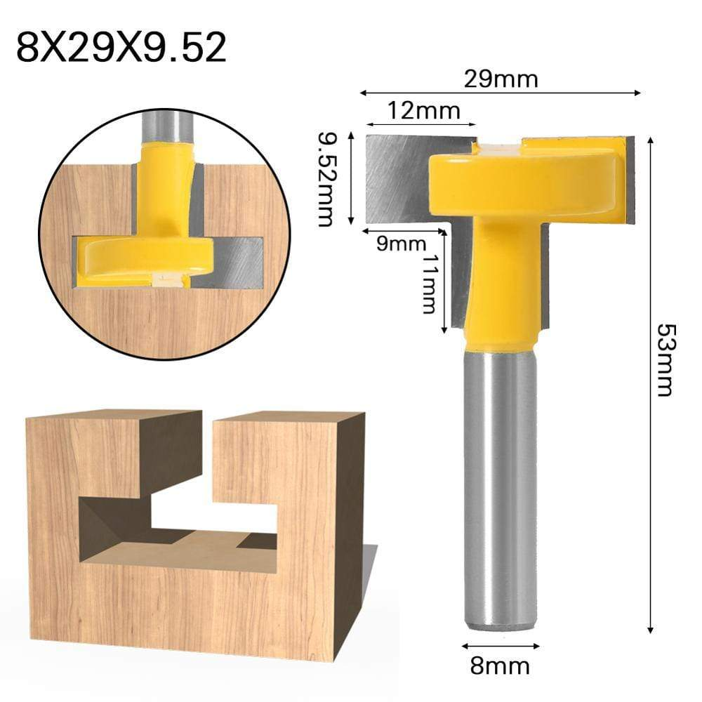 "Yoybi Handmade 8X29X9.52 1pcs Top Quality T-Slot & T-Track Slotting Router Bit - 8"" 8'' Shank For Woodworking Chisel Cutter Wholesale Price"