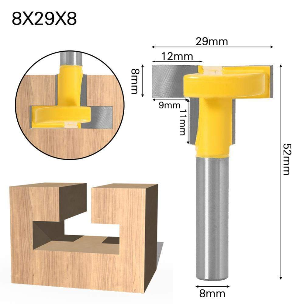 "Yoybi Handmade 8X29X8 1pcs Top Quality T-Slot & T-Track Slotting Router Bit - 8"" 8'' Shank For Woodworking Chisel Cutter Wholesale Price"