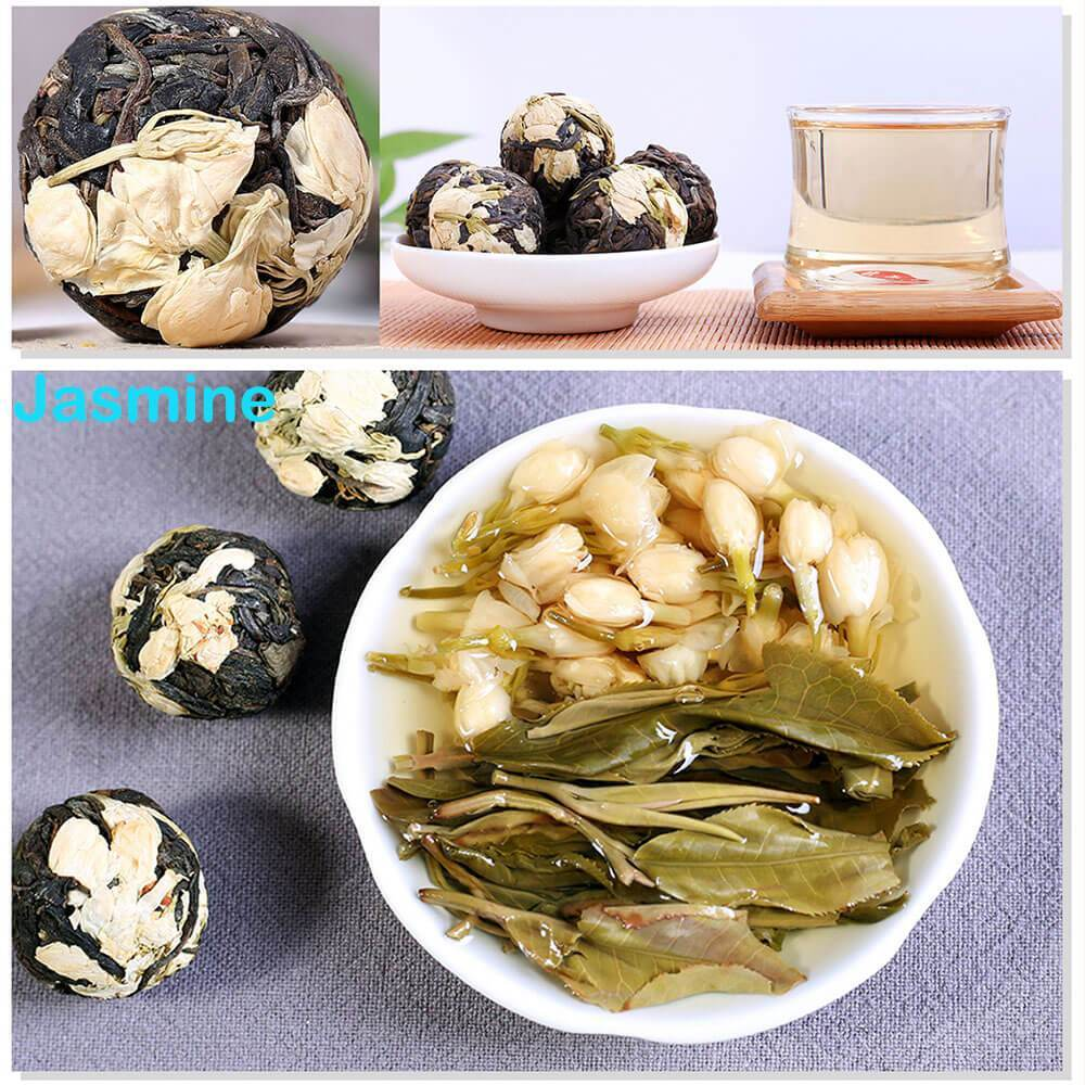 Yoybi Handmade Jasmine / 1 X 250g(0.55lbs) 250g Unique Handmade Pu'er Raw Flower Tea Ball ( FREE TEA CAN)