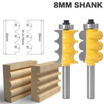 8mm Shank Triple Bead & Triple Flute Large Molding Router Bits Set Line knife Woodworking cutter