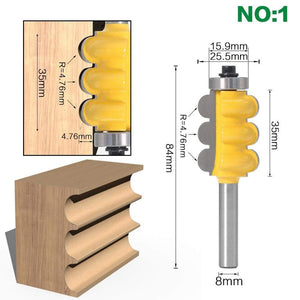 Yoybi Handmade NO1 2PC 8mm Shank Triple Bead & Triple Flute Large Molding Router Bits Set Line knife Woodworking cutter