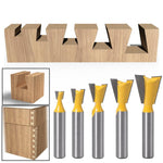 5pcs 8mm Shank Dovetail Joint Router Bits Set
