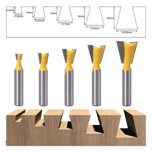 Yoybi Handmade 5PCS 5pcs 8mm Shank Dovetail Joint Router Bits Set 14 Degree Woodworking Engraving Bit Milling Cutter for Wood
