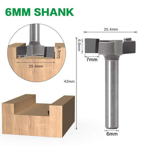 Yoybi Handmade 6mm shank 6mm Shank 1/4″shank 3 teeth T-Slot Router Bit Milling Straight Edge Slotting Milling Cutter Cutting Handle for Wood Woodwork