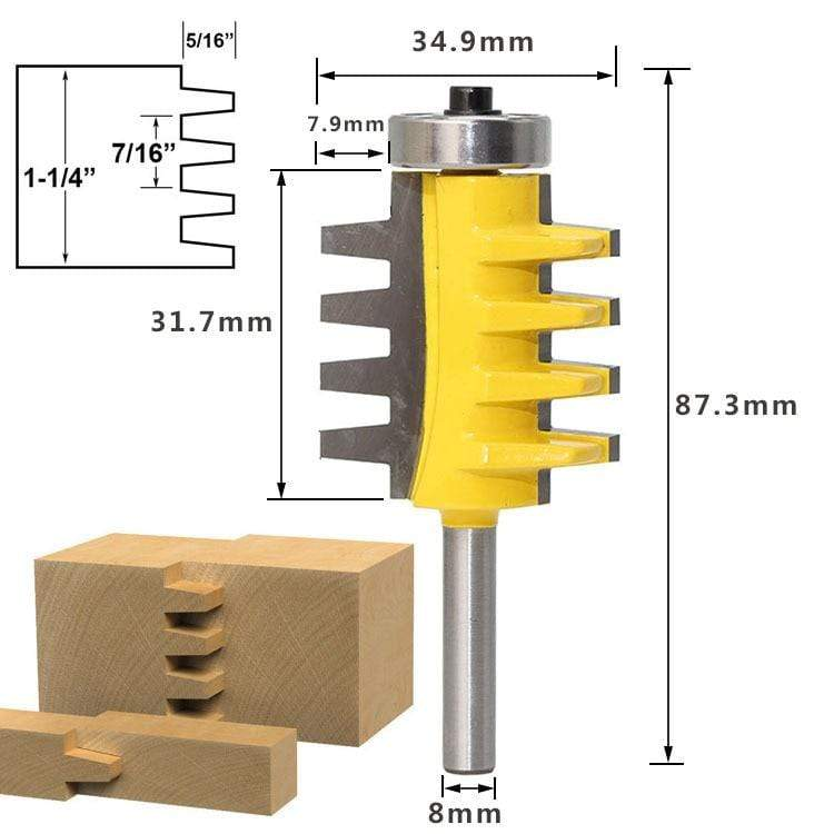 Yoybi Handmade Option 8Shank Rail Reversible Finger Joint Glue Router Bit Cone Tenon Woodwork Cutter Power Tools Wood Router Cutter