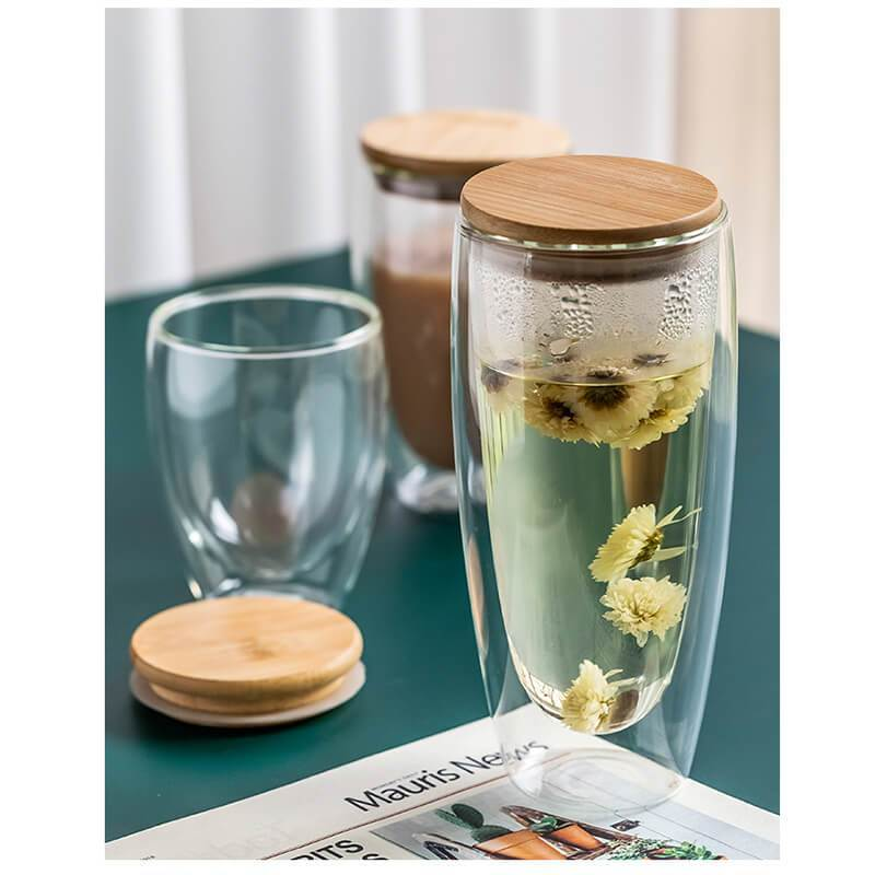 Yoybi Handmade Home & Garden Double-wall Glass flower Tea & Coffee Cup