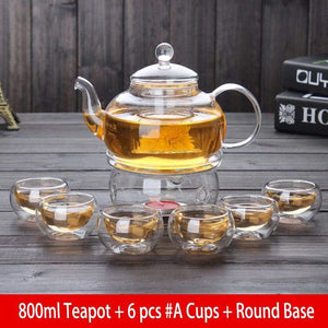 Yoybi Handmade 800ml Teapot + 6 pcs #A Cups + Round Base Flower Tea Teapot Set