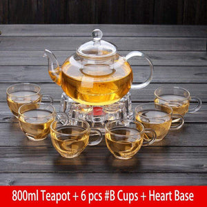 Yoybi Handmade 800ml Teapot + 6 pcs #B Cups + Heart Base Flower Tea Teapot Set