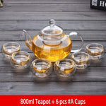 Yoybi Handmade 800ml Teapot + 6 pcs #A Cups Flower Tea Teapot Set