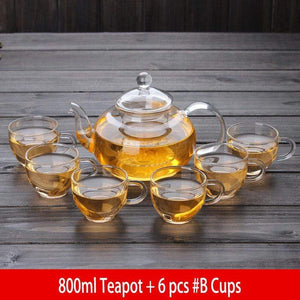 Yoybi Handmade 800ml Teapot + 6 pcs #B Cups Flower Tea Teapot Set