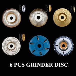Yoybi Handmade 6 PCS Grinder Disc (SAVE US$88.00) CHAIN SAW+6 TEETH WOOD CARVING+FLAT + SEMICIRCLE + CURVED+BEVEL Grinder Shaping Disc - Aperture 16mm(5/8 inch) Bore
