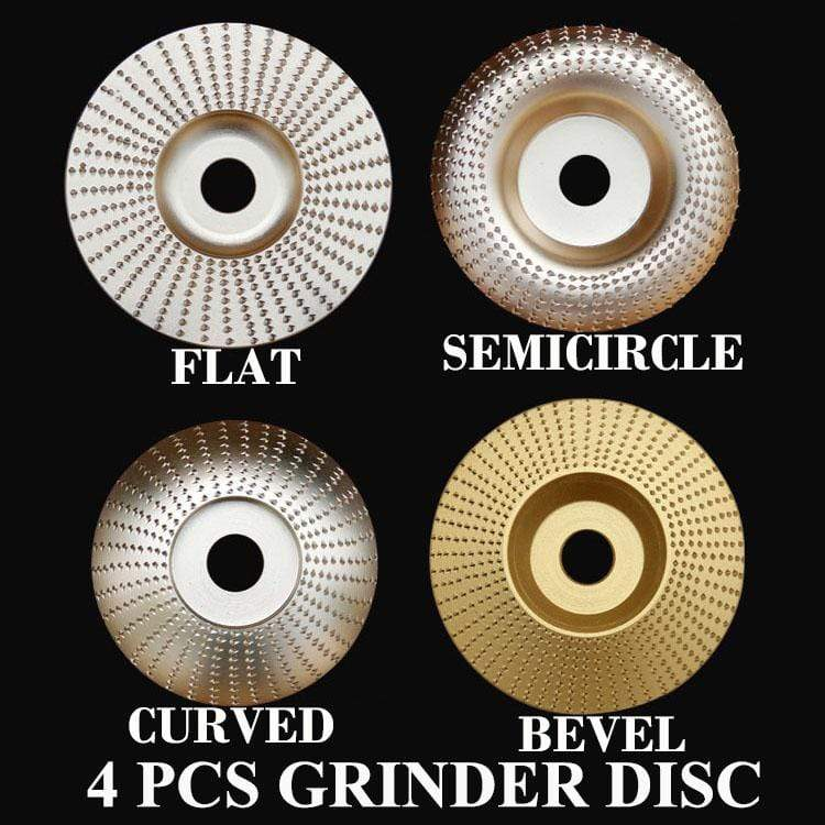 Yoybi Handmade 4 PCS Grinder Disc (SAVE US$40.00) FLAT + SEMICIRCLE + CURVED+BEVEL Grinder Shaping Disc - Aperture 16mm(5/8 inch) Bore