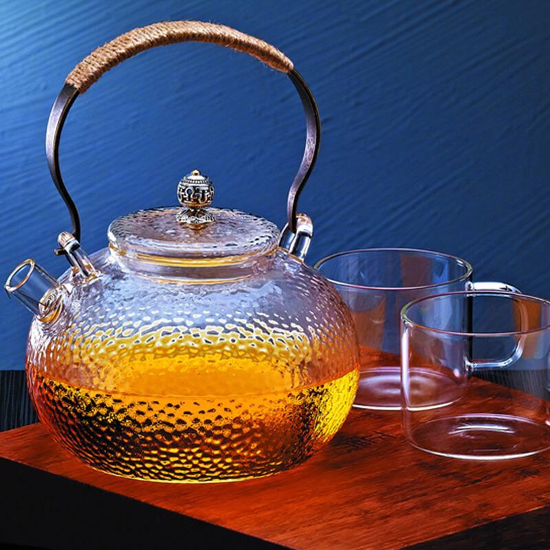 Yoybi Handmade Hammer Copper Handle Tea Pot Glass Teapot