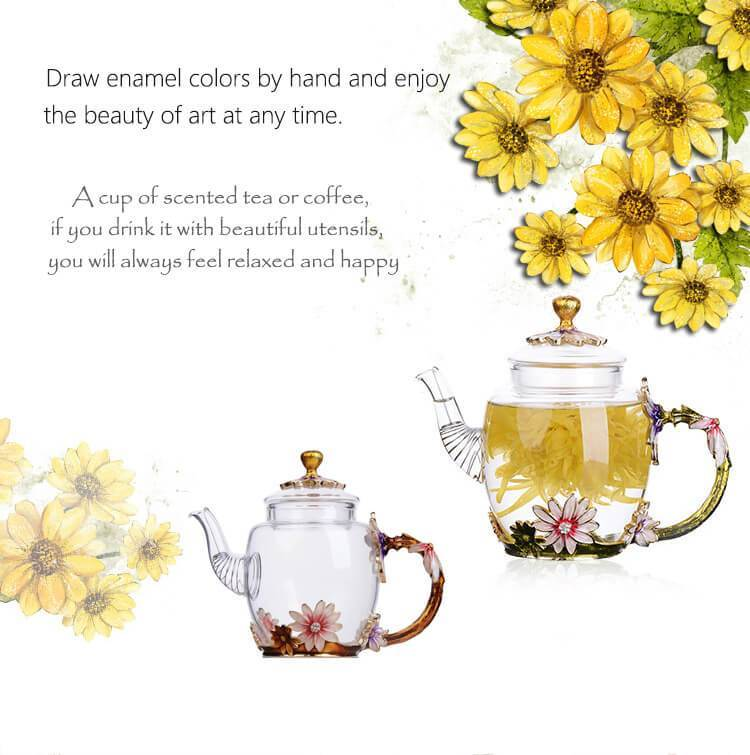 Yoybi Handmade Hand painted enamel flower teapot Heat-resistant glass high-grade teapot