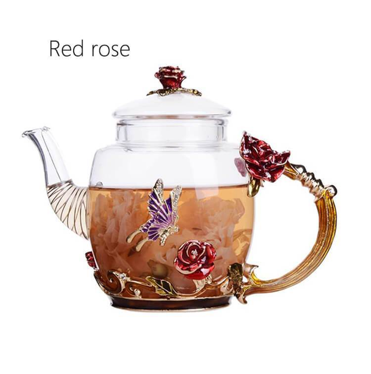 Yoybi Handmade High Grade Hand Painted Flower Teapot Economic Heat Resistant Glass Tea Coffee Strainer