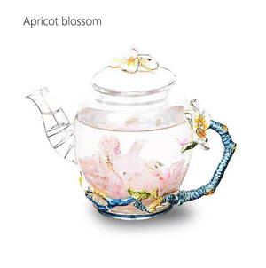Yoybi Handmade Apricot blossom High Grade Hand Painted Flower Teapot Economic Heat Resistant Glass Tea Coffee Strainer