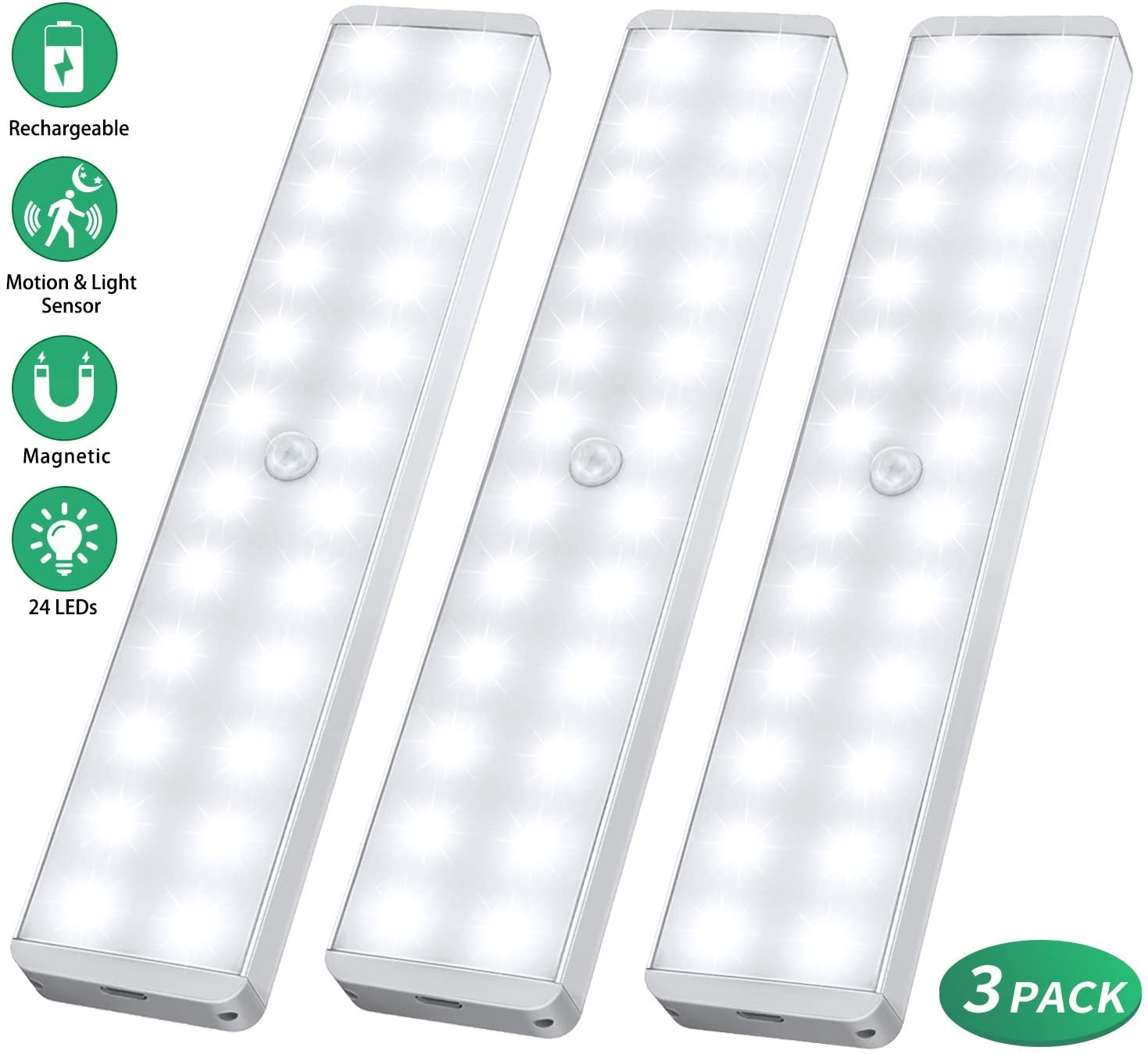 Yoybi Handmade Home & Garden White 24-LED Rechargeable / 1 PC Motion Sensor Closet Light for Stairs,Wardrobe,Kitchen,Hallway
