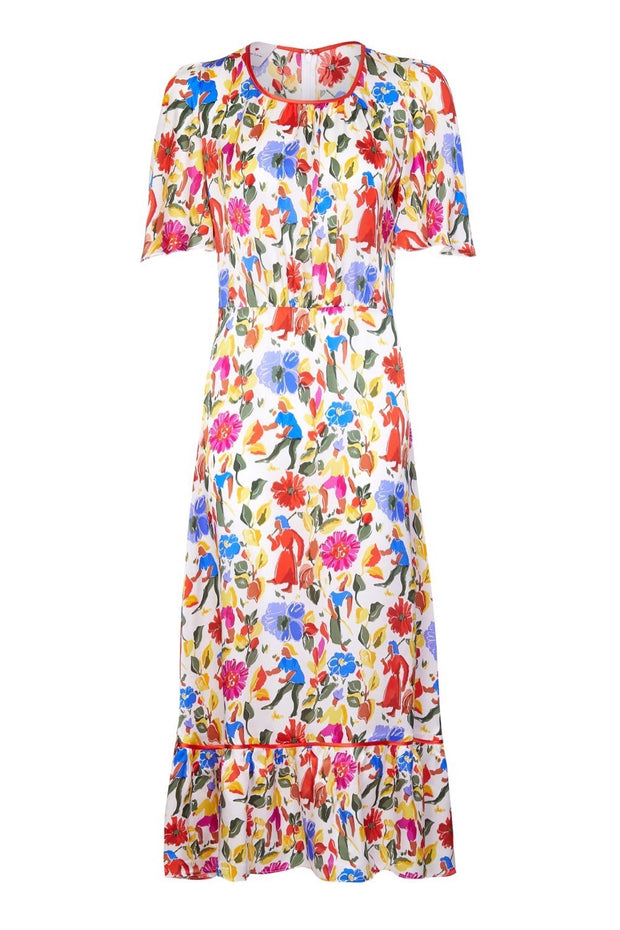 SILK BIBA DRESS - WHITE GAUGUIN