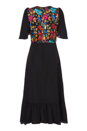 SILK BIBA DRESS - BLACK GAUGUIN AND PLAIN