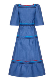 COLETTE DRESS - DENIM SILK WITH RIC-RAC