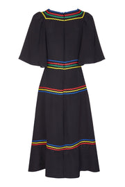 COLETTE DRESS - BLACK WITH RIC RAC