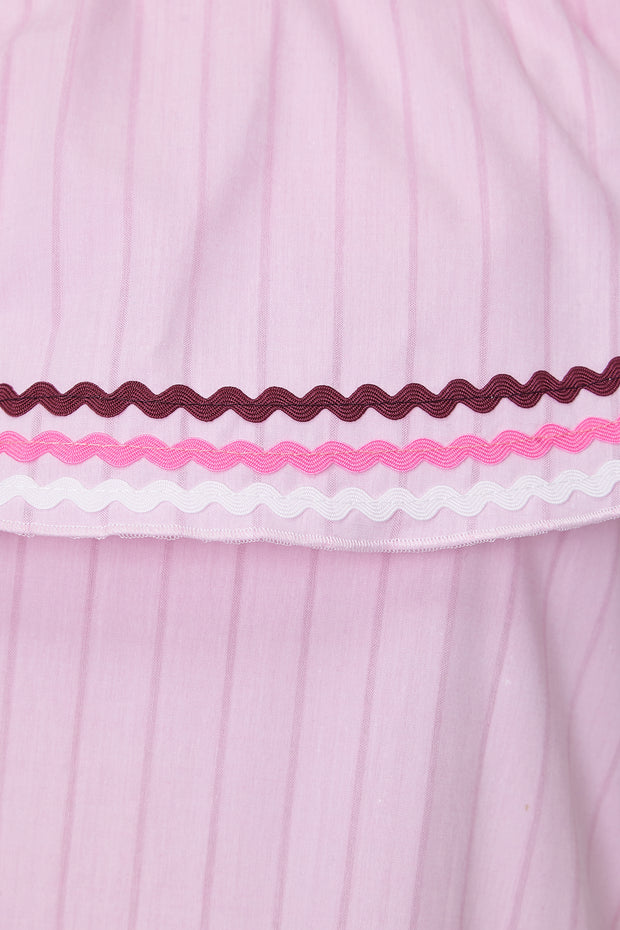 PICNICING DRESS - PINK COTTON & RIC-RAC