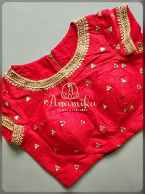 Red raw silk maggam work