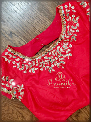 Red raw silk mirror work blouse