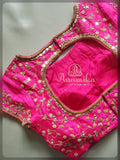 Pink mirror work blouse