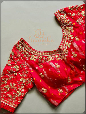 Red bandini silk heavy work blouse