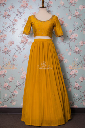 Mustard pleated crushed georgette skirt