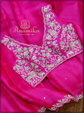 Pink organza designer saree with silver handwork